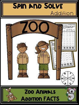 Zoo Animals Addition Spin and Solve Math Centers