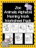 Zoo Animals Alphabet Morning Work Worksheet Pack