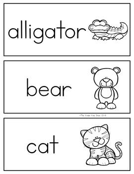 Zoo Animals Alphabet Word Wall