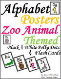 Zoo Animals Alphabets Posters, Flash Cards & Charts---Black & White Polka Dots