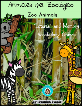 Zoo Animals/ Animales del Zoológico. Lotto and Memory Games