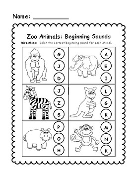 Zoo Animals Beginning Sounds Worksheet by Amy Barker | TpT