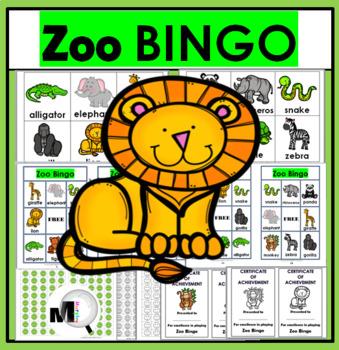Zoo Animals Bingo Game ~ Zoo Literacy