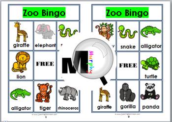 Free zoo bingo set