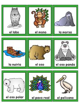Zoo Animals Bingo Game in Spanish