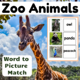 Zoo Animals and Birds Word to Picture Matching Activity