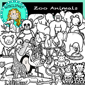 Zoo Animal Black And White Clip Art Worksheets Tpt