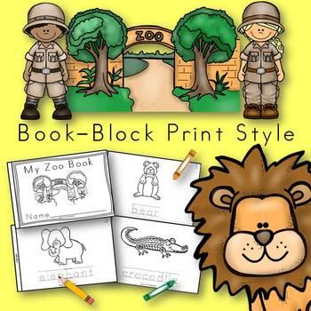 Zoo Animals Book for Kindergarten and 1st Grade {Block Pri