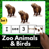 Zoo Animals Activity for Speech Therapy - Sentence Building