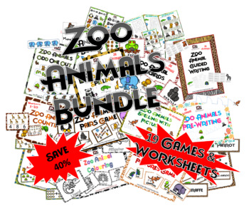 Zoo Animals Bundle (19 Games and Worksheets)