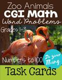 Zoo Animals CGI Math Word Problems 0-100 Task Cards Grades 1-3