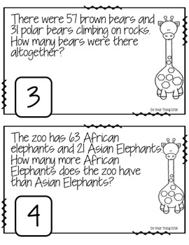 Zoo Animals CGI Math Word Problems 0-100 Task Cards Grades 1-3