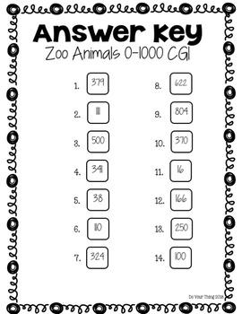 Zoo Animals CGI Math Word Problems 0-1000 Task Cards