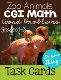 Zoo Animals CGI Math Word Problems Task Cards