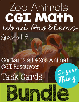 Zoo Animals CGI Math Word Problems Task Cards Bundle (4 sets) Grades 1-3