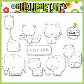 BUNDLED SET - Zoo Animals Clip Art & Digital Stamp Bundle - Alice Smith
