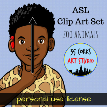 Zoo Animals Clip Art - ASL American Sign Language Set (Personal)