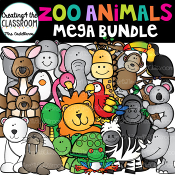Zoo Animals Clip Art Bundle {Animals Clip Art}