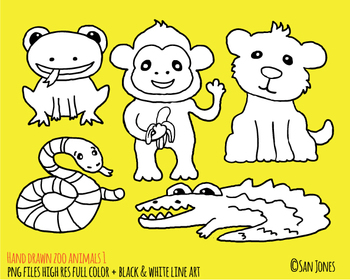 Zoo Animals Clip Art - Hand Drawn Zoo Animals - BW Line Art Included