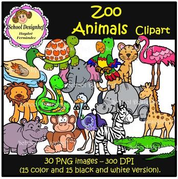 Zoo Animals Clip Art (School Designhcf)
