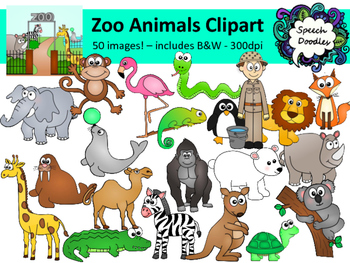 Zoo Animals Clipart Bundle 50 Images Personal Or Commercial Use