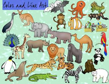 Zoo Animals Clipart - Color and Blackline Huge 54 Mega pc set