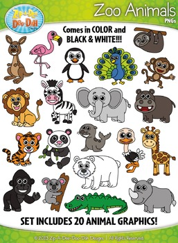 Zoo Animals Clipart Set — Includes 40 Graphics!