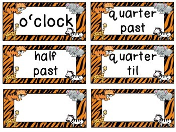 Zoo Animals Clock Tags & Labels {Jungle Safari Theme}