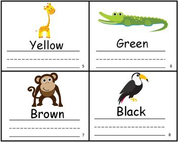 Zoo Animals Color Writing Practice Mini Book
