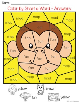 Zoo Animals Color by CVC Word