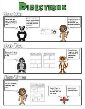 Zoo Animals Comic Strip Writing Templates, Characters, and Story Starters