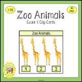 Zoo Animals Count and Clip Task Cards