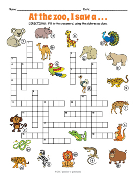 Zoo Animals Crossword Puzzle 3044480 on Kindergarten Math Worksheets With Animals