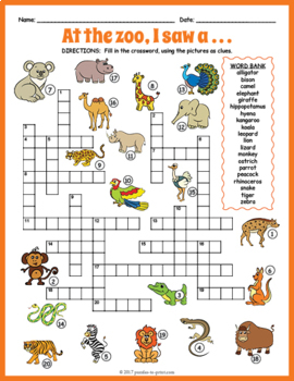 zoo animals crossword puzzle by puzzles to print tpt. Black Bedroom Furniture Sets. Home Design Ideas