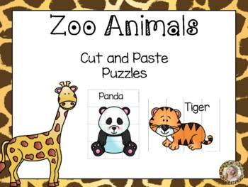Zoo Animals Cut & Paste Puzzles