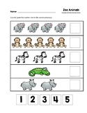 Zoo Animals Cut and Paste Numbers 1-5 Worksheets