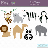 Zoo Animals Clipart Commercial Use WITH Black and White Outlines