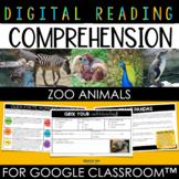 Zoo Animals Digital Reading Comprehension for Google Slide