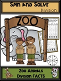Zoo Animals Division Spin and Solve Math Centers