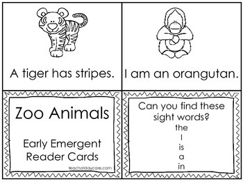 Zoo Animals Early Emergent Reader Reading Activity Cards.