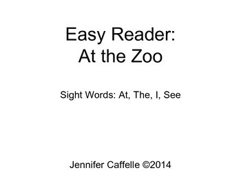 Zoo Animals Easy Reader - Sight Words