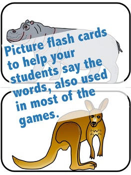 Zoo Animals Flash Cards, Activities, and Games for ELL and ESL