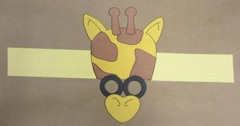 Zoo Animals Giraffe Sentence Strip Hat Mask