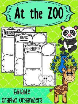 Editable Graphic Organizers : Zoo Animals