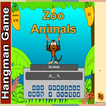 Zoo Animals Hangman Game Grade 2-5