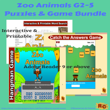 Zoo Animals Interactive Puzzle & Games Bundle Grade 2-5