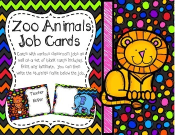 Zoo Animals Job Chart Cards