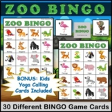 Zoo Animals Bingo Game with Kids Yoga Poses Included for Active Movement