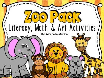 Zoo animals theme pack- literacy & math worksheets and centers for kindergarten