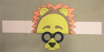 Zoo Animals Lion Sentence Strip Hat Mask